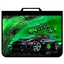"""Папка для труда ПТ-Р5 """"Monster car"""", А4 на молнии с ручкой"""