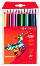 Карандаши цветные толстые трехгранные Stabilo 12 цветов