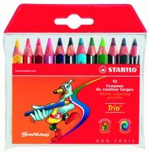 Карандаши цветные толстые трехгранные Stabilo 12 цветов короткие