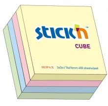 Самоклеящийся блок 76 х 76 мм, 400 листов, Stick'N, Hopax