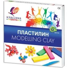 """Пластилин  """"КЛАССИКА"""" 12 цветов,стек, пластиковый вкладыш,  240 гр"""