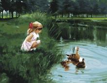 Картина по номерам Девочка и утки 40х50см.