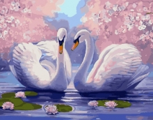 Картина по номерам Лебеди среди лотоса 40х50см.