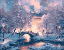 Картина по номерам Зимний мостик 40х50см.