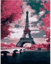 Картина по номерам Париж в цветах 40х50см.