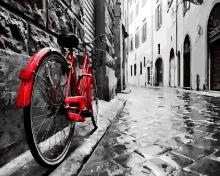 Картина по номерам Красный велосипед 40х50см.