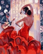 Картина по номерам Алое платье 40х50см.