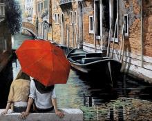 Картина по номерам Влюбленные в Венеции 40х50см.