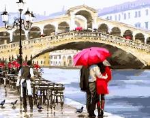 Картина по номерам Влюбленные у моста в Венеции 40х50см.