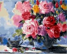 Картина по номерам Акварельные розы 40х50 см.