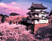Картина по номерам Замок Хиросаки-дзё 40х50см.