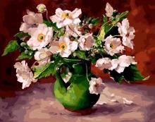 Картина по номерам Белые цветы в зеленой вазе 40х50см.