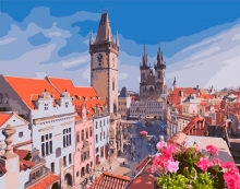 Картина по номерам Прага. Вид на Вышеград 40х50см.