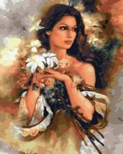 Картина по номерам Брюнетка с цветами 40х50см.