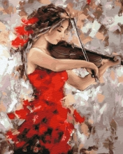 Картина по номерам Девушка со скрипкой 40х50см.