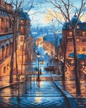 Картина по номерам Лестница в вечернем городе 40х50см.